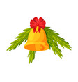 golden bell with red bow and fir tree branches vector image