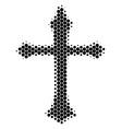 halftone dot christian cross icon vector image vector image