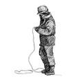hand drawn sketch worker vector image vector image