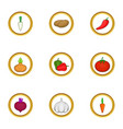 healthy vegetables icons set cartoon style vector image vector image