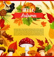 hello autumn poster template with fall season leaf vector image vector image