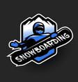 jumping snowboarder sport logo vector image vector image