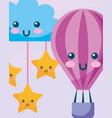 kawaii hot air balloon cloud and stars hanging vector image vector image