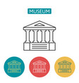 museum building outline icons set vector image vector image