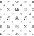 music icons pattern seamless white background vector image vector image