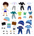 paper doll boy dress up clothing with vector image vector image