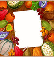 recipe note of exotic tropical fruits vector image vector image