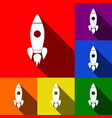 rocket sign set of icons vector image vector image