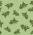 seamless pattern with hand drawn canadian hemlock vector image vector image
