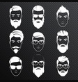 set bearded hipster men faces on the vector image vector image