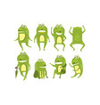 set green frogs in different poses and with vector image vector image