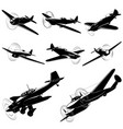 silhouettes of old fighters vector image vector image