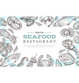 sketch seafood banner drawing fish crab lobster vector image vector image