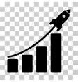 Startup Rocket Bar Chart Icon vector image vector image