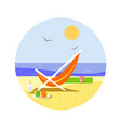 sunny beach with reclining chair vector image vector image