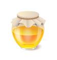 tasty honey in glass jar realistic honey icon vector image