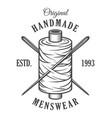 vintage monochrome tailor emblem vector image vector image