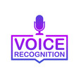 voice recognition badge icon stamp logo vector image vector image