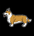 welsh corgi in profile on a dark background vector image vector image