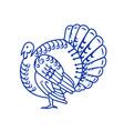 wild turkey side paper cut vector image vector image