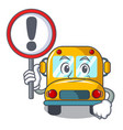 with sign school bus character cartoon vector image