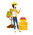 farmer with clipboard giving thumb up vector image