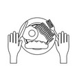 american breakfast on dish black and white vector image