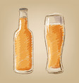 beer bottle and glass isolated icons set vector image vector image