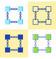 blockchain symbol icon set in flat and line style vector image vector image