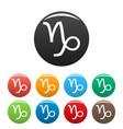 capricorn zodiac sign icons set simple vector image