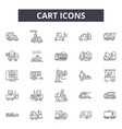 cart line icons signs set linear concept vector image vector image