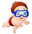 cartoon little boy diving vector image