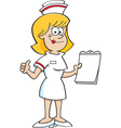 Cartoon nurse giving thumbs up vector image