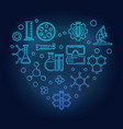 chemistry icons in heart shape blue line vector image vector image