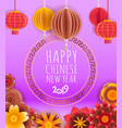 chinese style lunar year banner with lanterns vector image
