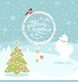 christmas background with dog and bullfinch vector image vector image
