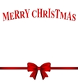 Christmas card with a red bow vector image vector image