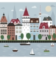 City on the river vector image
