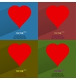 Color set red heart web icon flat design vector image vector image