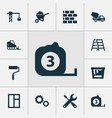 construction icons set collection of paint bucket vector image vector image
