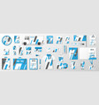 corporate identity template with classic blue and vector image vector image