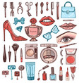 cosmetics for makeup set doodle a collection of vector image vector image