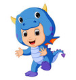 cute kids cartoon wearing dragon costume vector image