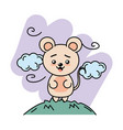 cute mouse animal in the mountain with clouds vector image