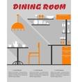 Dining room interior in flat format