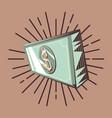 dollar banknote cash on vintage retro background vector image