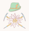 edelweiss tyrolean hat alpenstock flower symbol vector image vector image