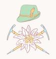 edelweiss tyrolean hat alpenstock flower symbol vector image