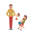 father with mischievous brother and sister happy vector image vector image