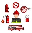 Fireman in uniform with firefighting equipments vector image